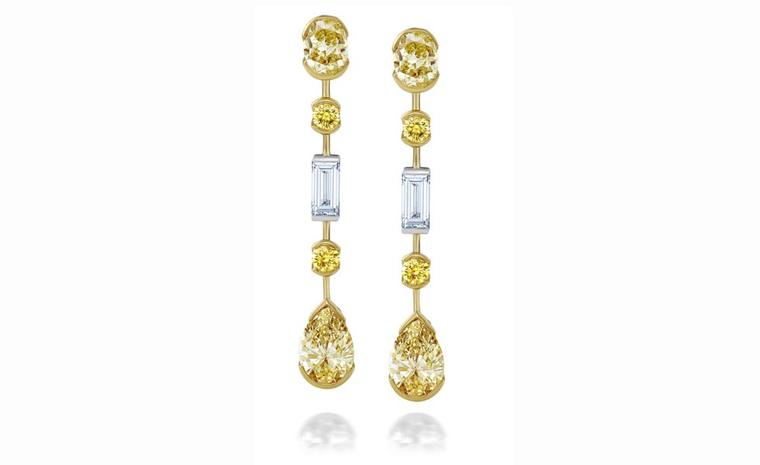 DE BEERS, Swan Lake Yellow Gold and White Gold Earrings. POA