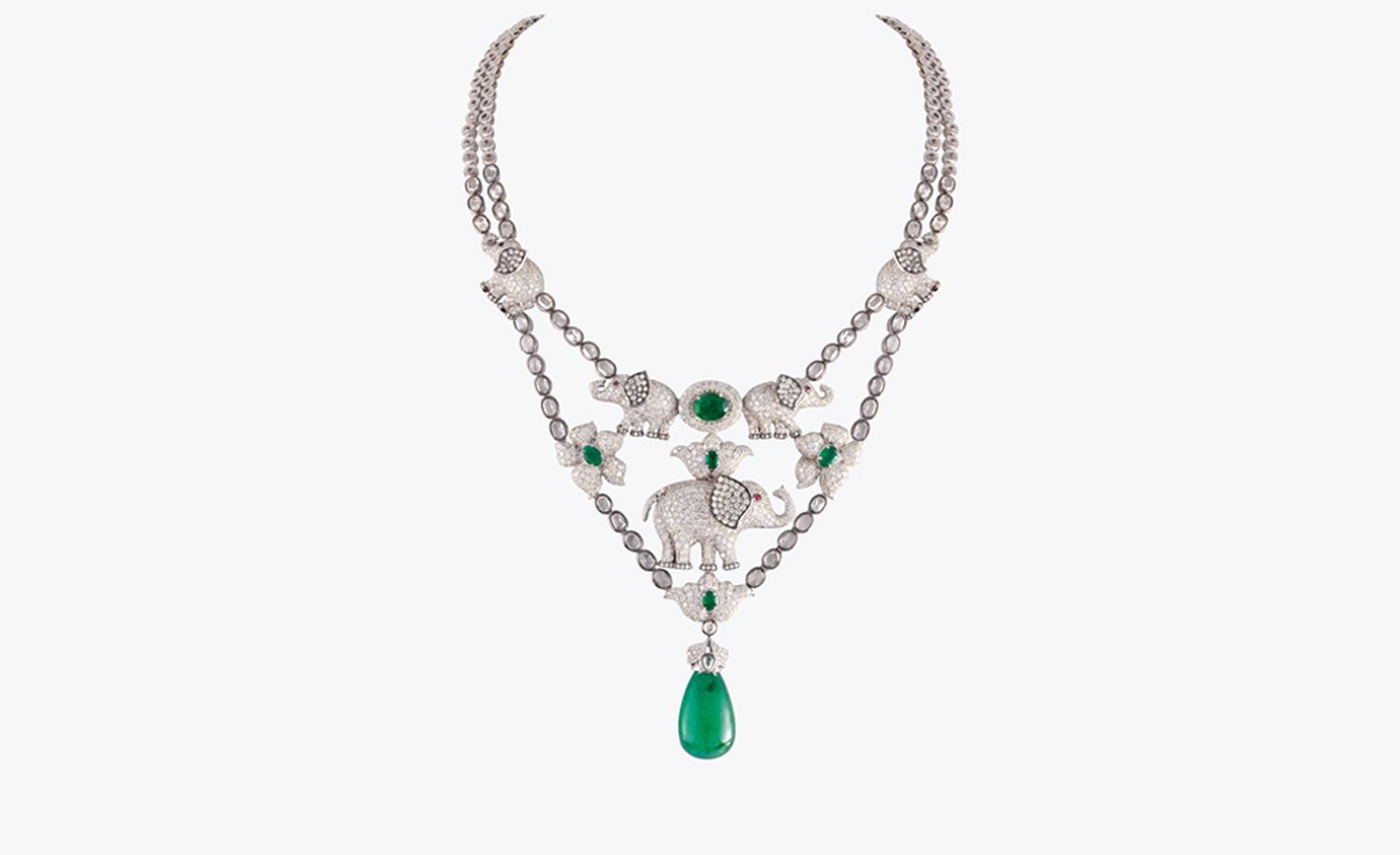 KHANNA JEWELLERS ZAMBIAN EMERALD NECKLACE