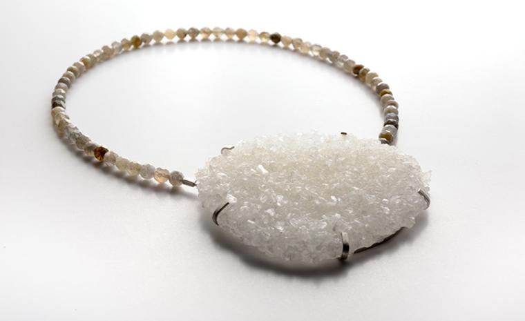 Angela O Keefe. Fading  Light necklace in silver, salt crystal and labradorite.