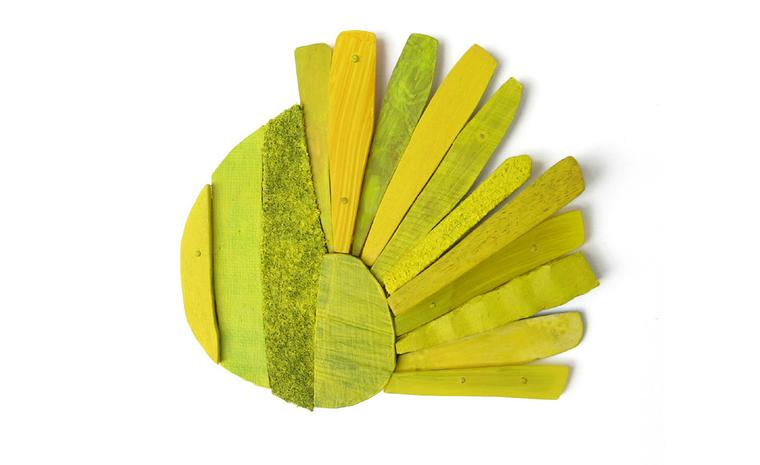 Lina Peterson  Yellowly brooch in  mixed media, silver and 18ct gold.
