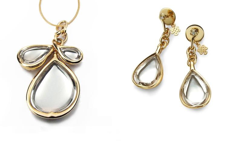 Diane von Furstenberg by H Stern. Sutras bold Pendant in yellow gold and rock crystal. Price from £9,600) Sutras bold Earrings in yellow gold, rock crystal and diamonds. Price from £6,000