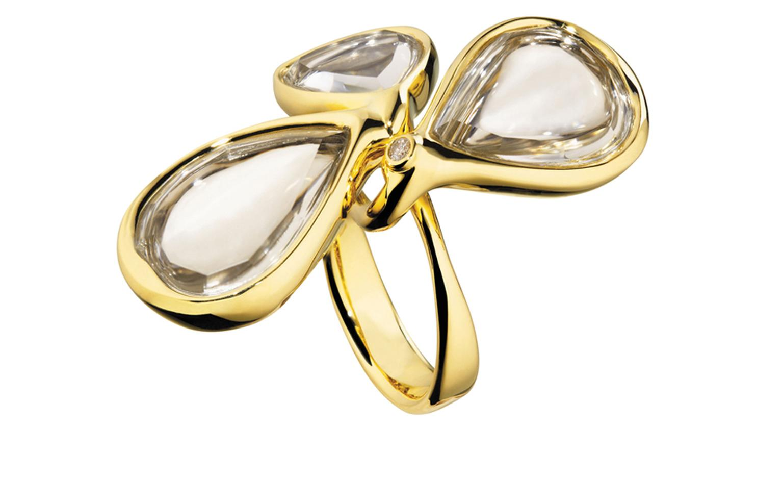 Diane von Furstenberg by H Stern. Sutras bold Ring in yellow gold, rock crytal and a diamond. Price from £5,500