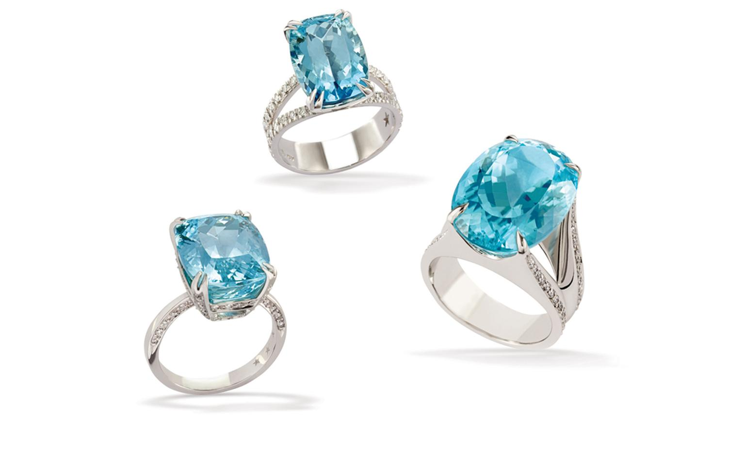 H.STERN. Paraiba Tourmaline Rings.  Price from £116,000 to £307,000