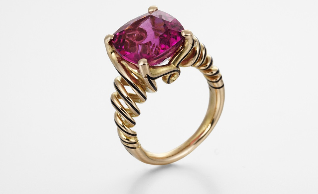 An exquisite pink tourmaline ring set in 18 carat rose gold with black enamel detail by Ming. Price from £6,500