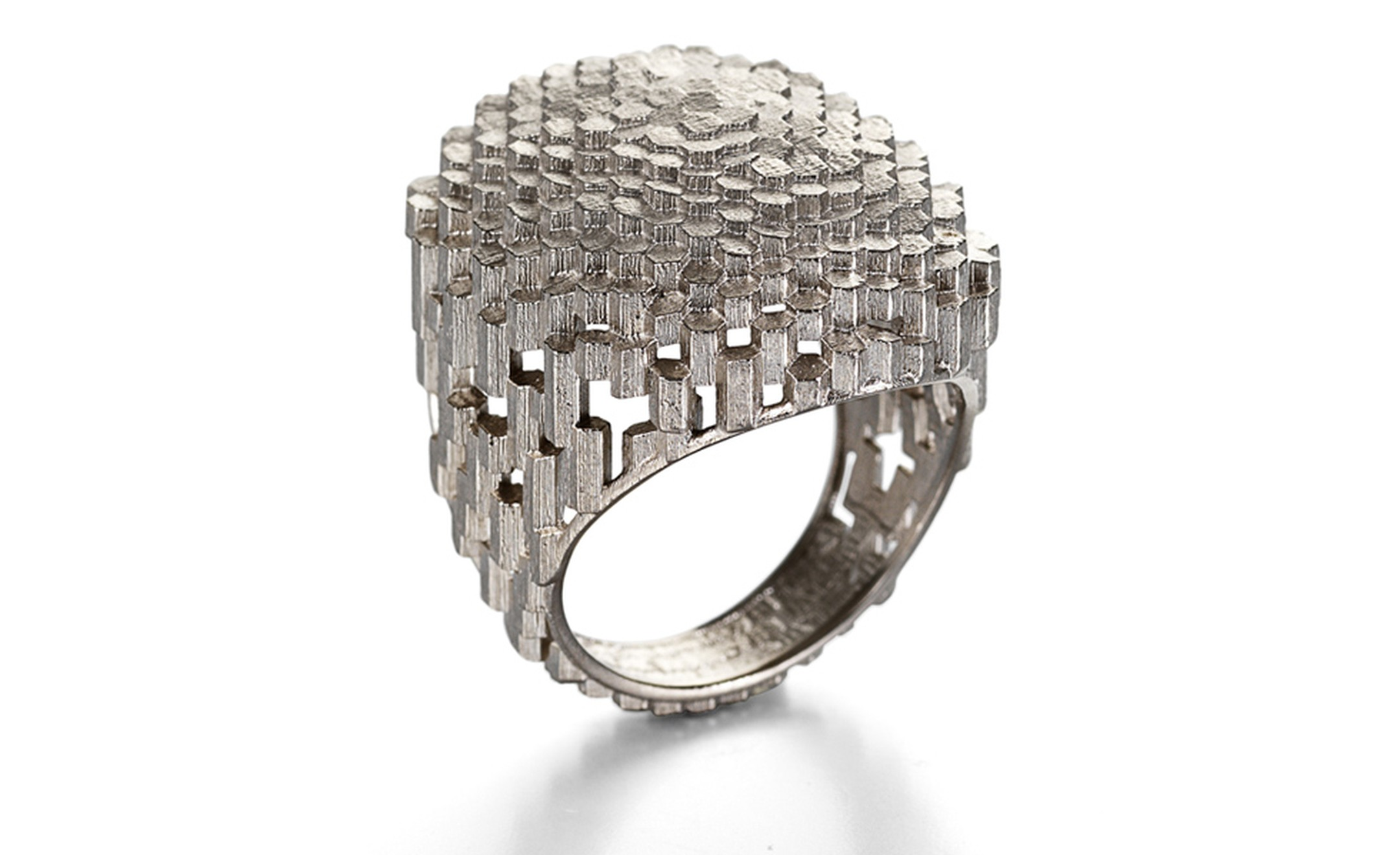 Hex Flat Oval Ring, 18ct white gold ring made of hexagonal block. By Jo Hayes-Ward. Price from £2,600