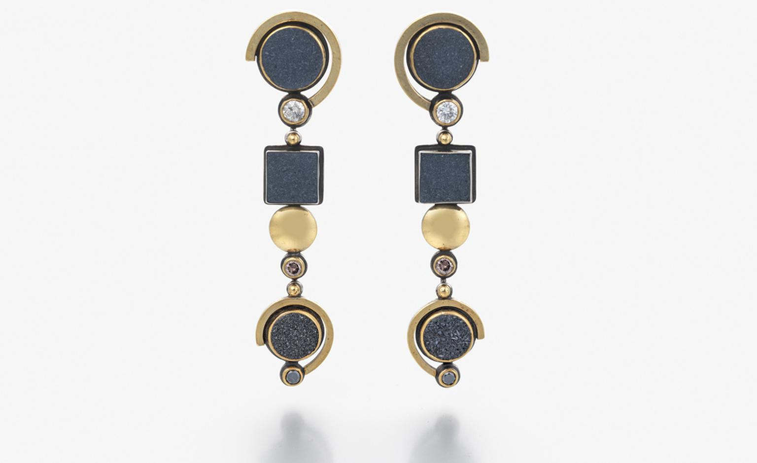 Earrings in 24 carat gold and silver set with black, brown and white diamonds and agate by Barbara Bertagnolli. Price from £2,600