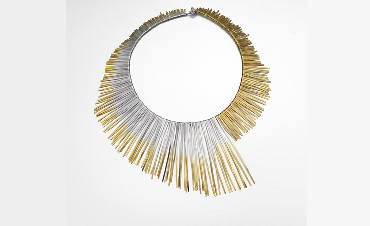 Solar Shimmer Neck, piece by Melanie Ankers. Silver and gold-plated silver inspired in its design by solar flares. Price from £920