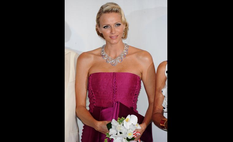 Van Cleef Arpels necklace Royal Gift from the Prince to the Princess. Red Cross Ball 2011 in Monaco.