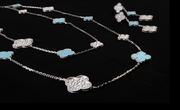 Van Cleef & Arpels:  Limited Edition Princess Charlene Alhambra necklace and earclips, white gold, diamonds and turquoise.  Price from 28 300 €