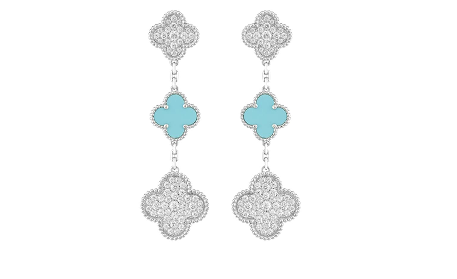Limited Edition Princess Charlene Alhambra earclips, white gold, diamonds (3.4 cts) and turquoise. Price from 28 300 €