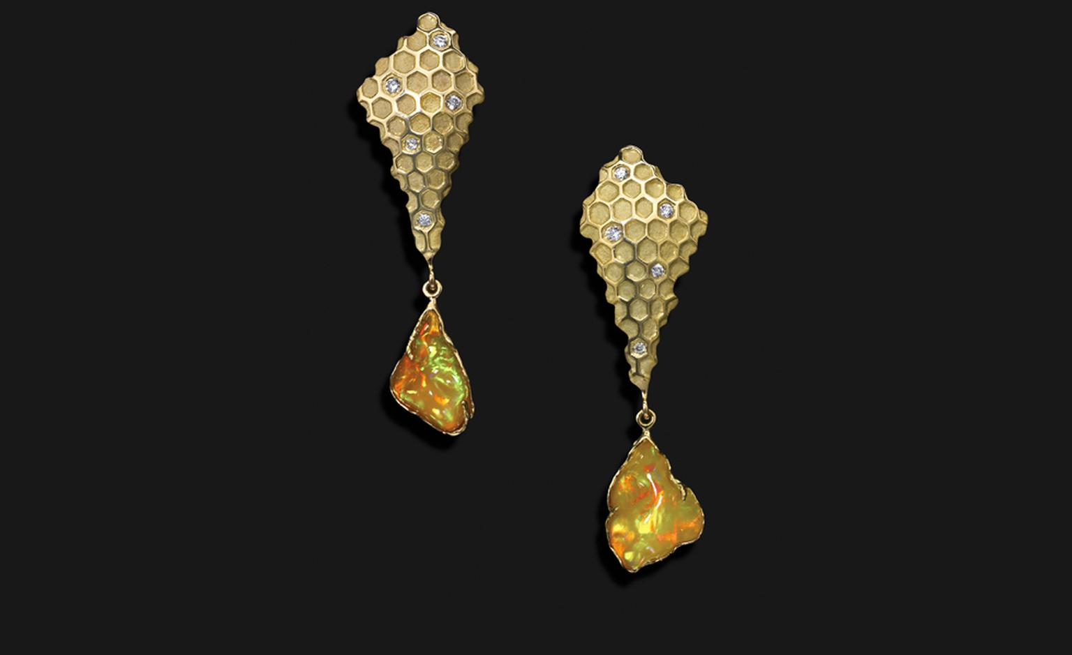 Ornella Iannuzzi: Would you like a drop of Tej Madame? Earrings. With hand-carved fire Wello opals (6cts) set in 18k gold, with diamonds. Unique piece. £7,000.