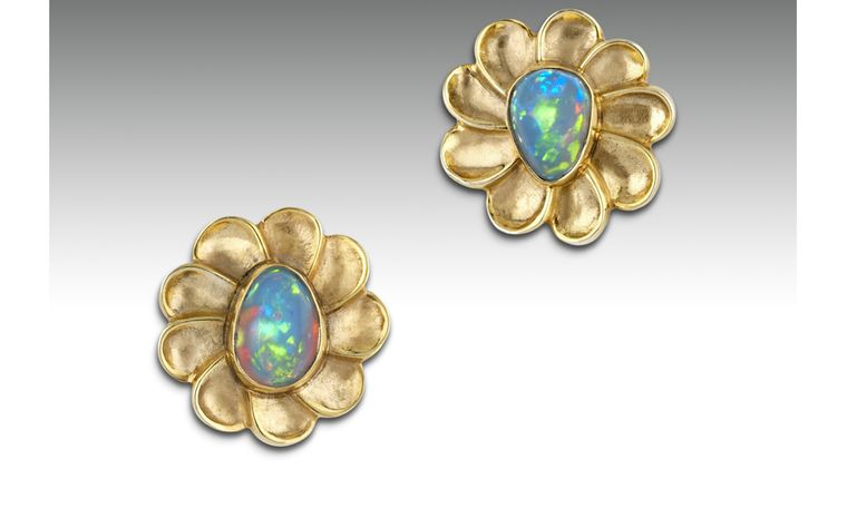 Ornella Iannuzzi: Addis Ababa earrings.  With 2cts hand-carved Wello opals set in 22k vermeil. Unique piece. SOLD - on commission from £750.Ornella Iannuzzi: Addis Ababa earrings.  With 2cts hand-carved Wello opals set in 22k vermeil. Unique pie...