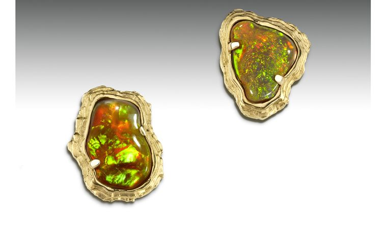 Ornella Iannuzzi: Dallol Earrings. Made with a total of 10 cts hand-carved Wello opals set in 18k gold. Unique piece. SOLD - on commission from £3,500.