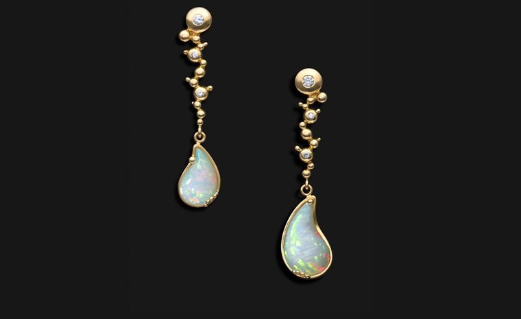 Ornella Iannuzzi: Holy Water in Debre Libanos Earrings. Made with hand-carved Wello opals (5,5cts) set in 18k gold with diamonds. Unique Piece. £4,500.