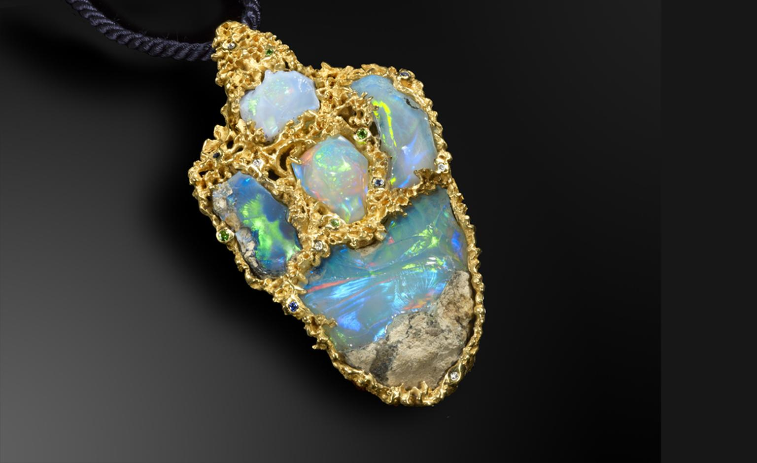 Ornella Iannuzzi: Cruise on the Lake Tana Pendant. Made of a total of 102,5 cts rough Wello opals set in 22ct gold with diamonds, sapphires and tsavorites. Unique piece. SOLD
