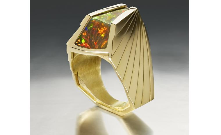 Ornella Iannuzzi: AXUM Ring. Made with a 7cts hand-carved Wello opal set in 18k gold. Unique piece. from £5,500.