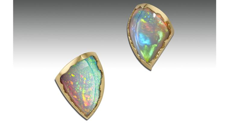 Ornella Iannuzzi: Simiens Mountains Earrings. With a total of 16 cts hand-carved Wello opals set in 18k Gold. Unique Piece. SOLD