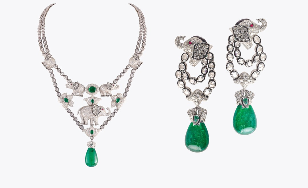 Khanna, New Delhi. Necklace and earrings, Zambian emeralds and diamonds. Sold as a set, price from $40 000.