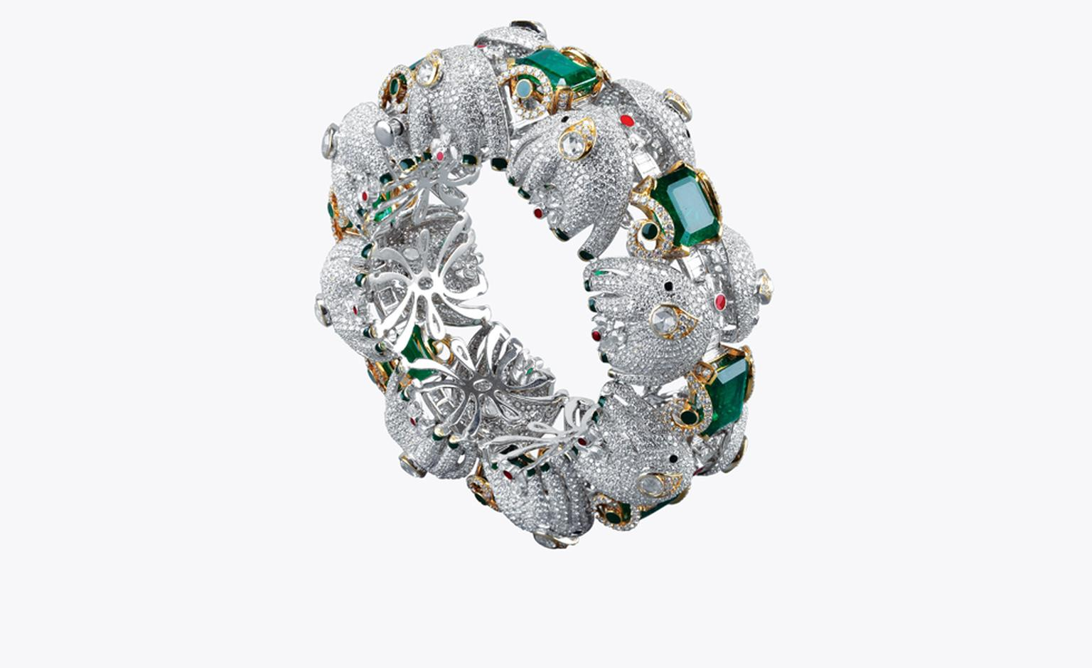 Narayan, Baroda. Bracelet, Zambian emeralds and diamonds in white old gold. Price from $200,000.