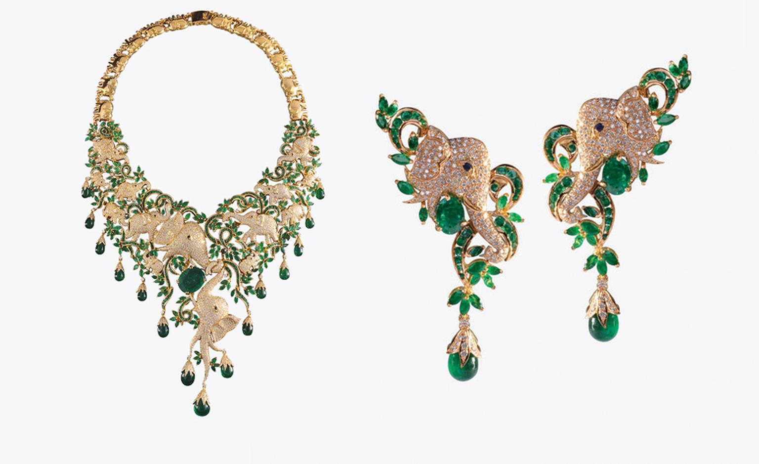 Vummidi Bangaru, Chennai. Necklace and earrings, Zambian emeralds in yellow gold. Sold as a set, price from $120,000.