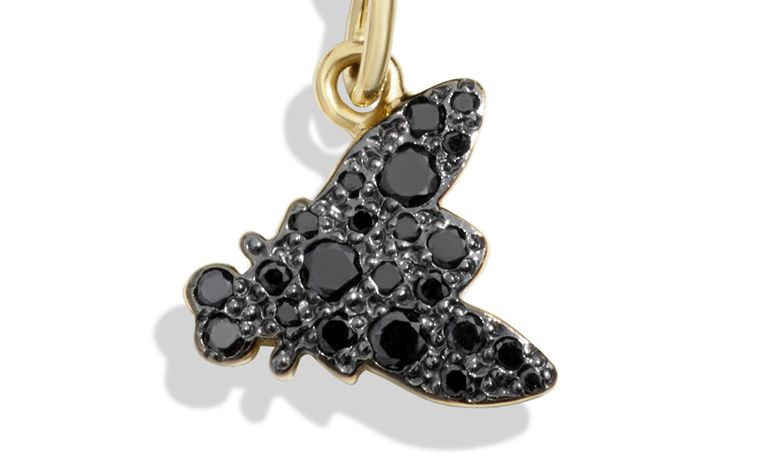 Dodo Dark Fly charm with black diamonds and yellow gold. £760 each.