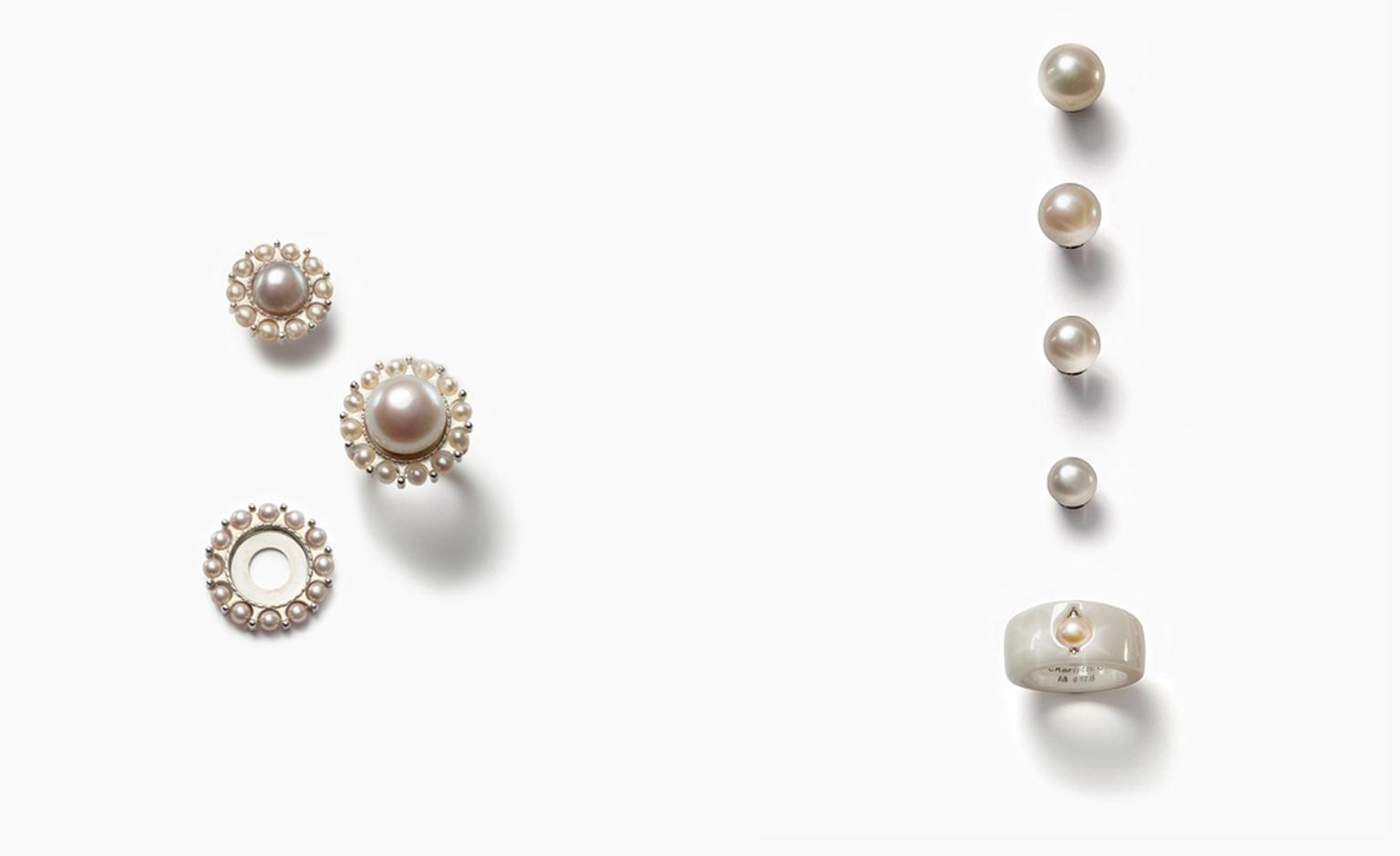 Charlotte Ehinger-Schwarz 1876. Susswasserperlin. Pearl wreath sterling silver. Fresh water pearls. White ceramic ring. All pieces sold separately. Prices start from £70.