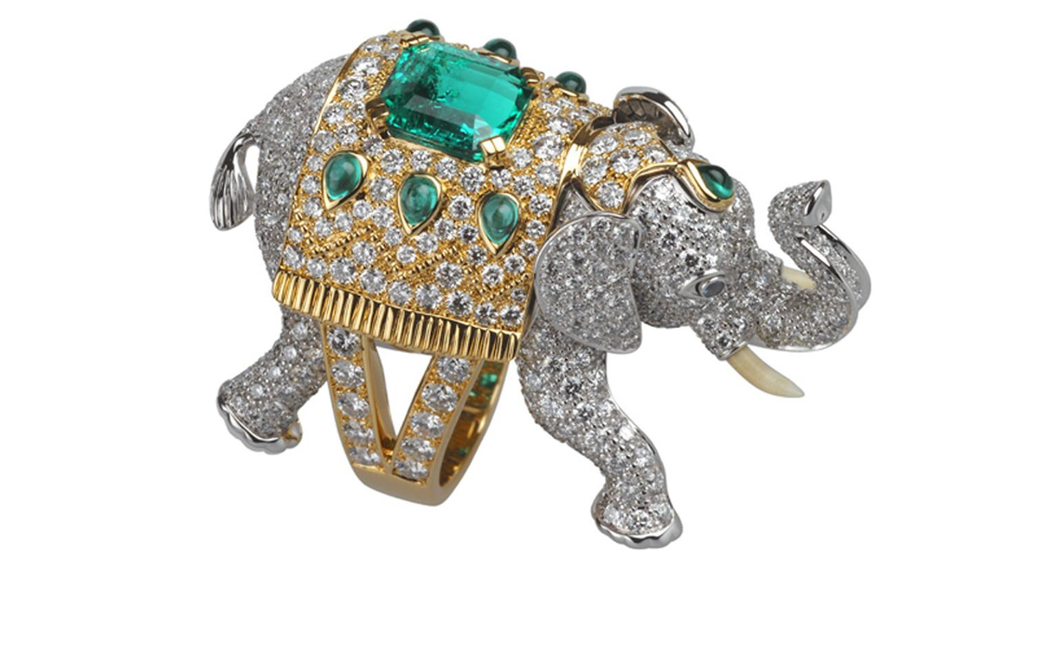 BOUCHERON. Hathi ring. White and yellow gold, emeralds, diamonds and sapphires. Price from £68,500.