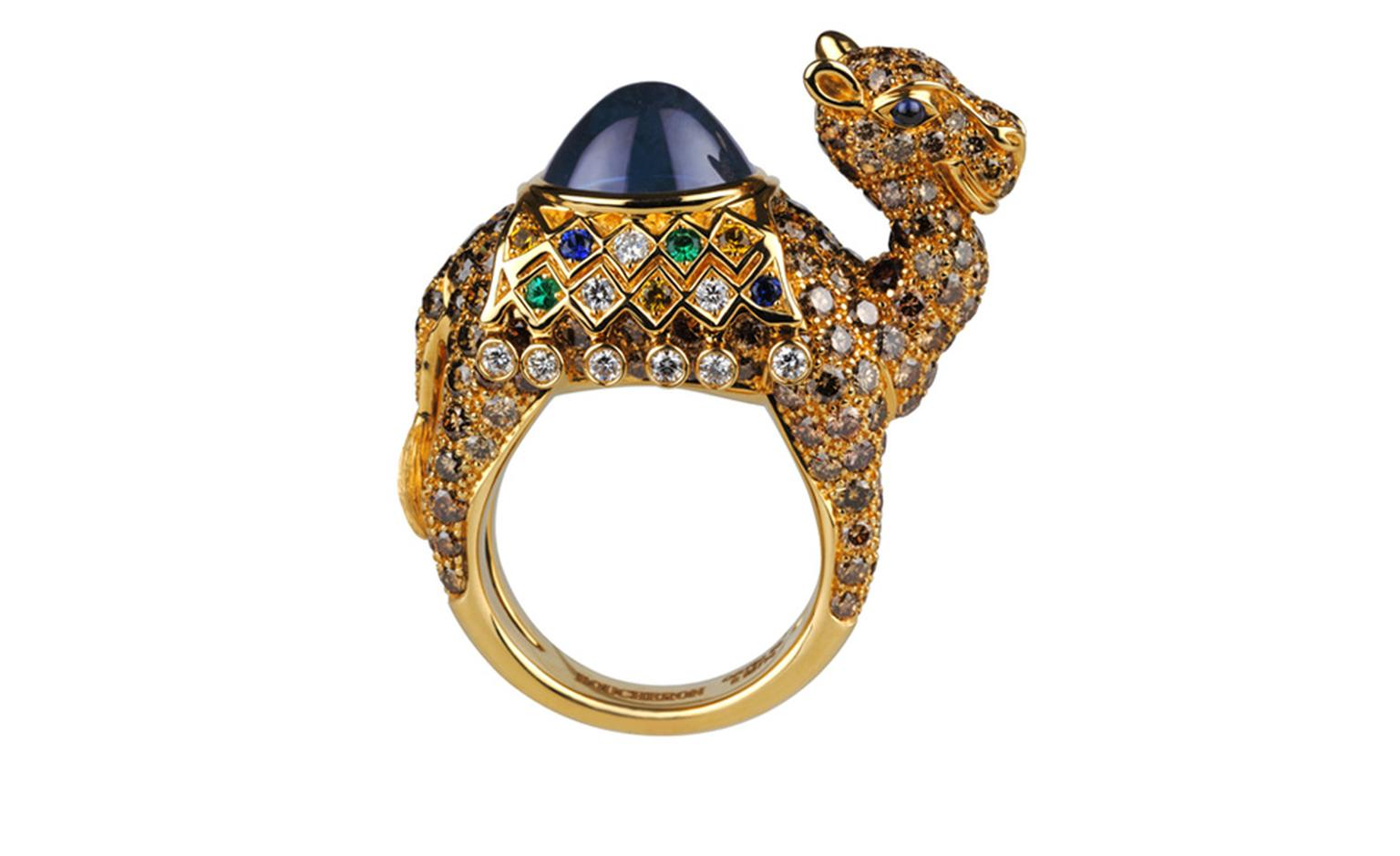BOUCHERON. Jamal ring. Madagascar sapphire, yellow and blue sapphires and emeralds. Price from £35,200.