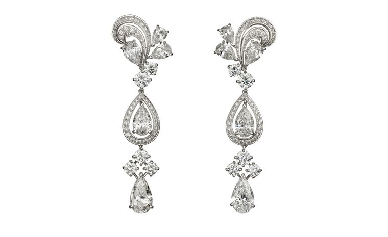Cartier platinum and diamond pendant earrings as worn by Madonna at Venice Film Festival 2011