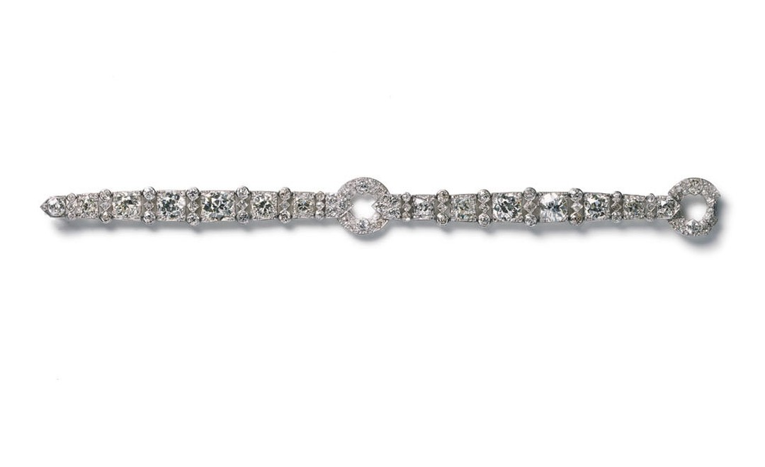 1923 Cartier Paris diamond bracelet made as a special commission and now worn by Madonna and on the set of W.E.