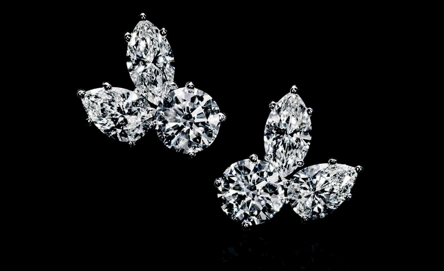HARRY WINSTON. Diamond Three Stone Cluster Earrings, set in Platinum. POA