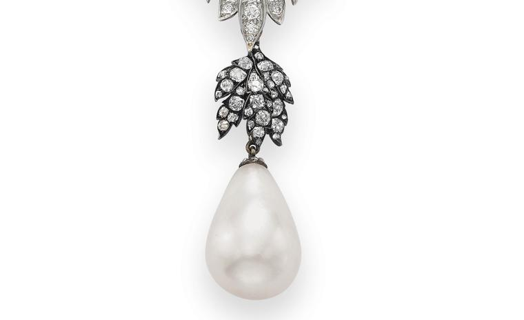 Close up of La Peregrina one of the most important historic pearls. Prince Philip II of Spain was among the first recorded owners of the pearl and it later passed on to the Spanish queens Margarita and Isabel, who  wore the pearl in 17th century...