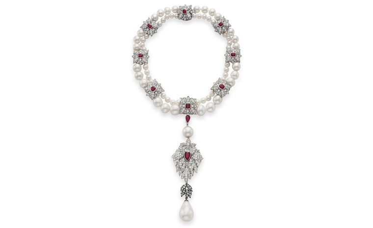 La Peregrina – The Legendary Pearl A 16th Century Pearl Ruby and Diamond Necklace designed by Elizabeth Taylor, with Al Durante of Cartier Gift from Richard Burton, January 23, 1969 Estimate: $2,000,000 – 3,000,000