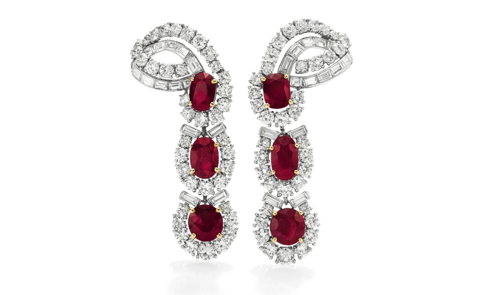 The Cartier Ruby Suite. Earrings Estimate: $80,000 – 120,000