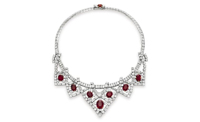 A Suite of Ruby and Diamond Jewelry, by Cartier Gift from her husband Mike Todd, August 1957 Necklace Estimate: $200,000 – 300,000