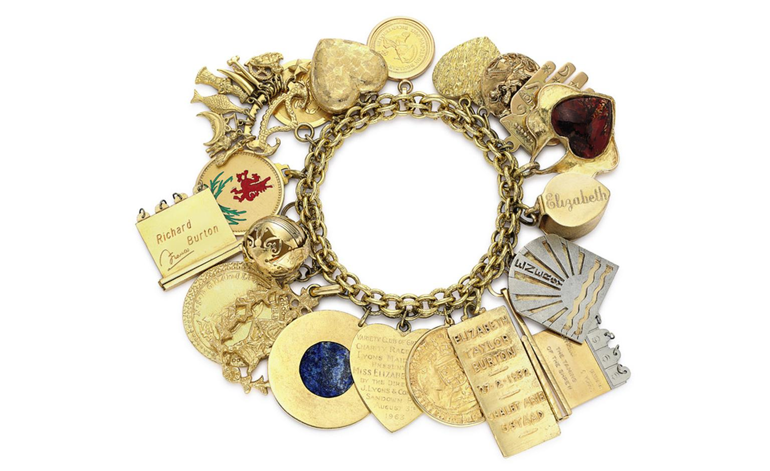 A Charm Bracelet, with 20 assorted charms. From her teenage years through to adulthood, Elizabeth Taylor collected charms for her many bracelets.Estimate: $25,000 – 35,000