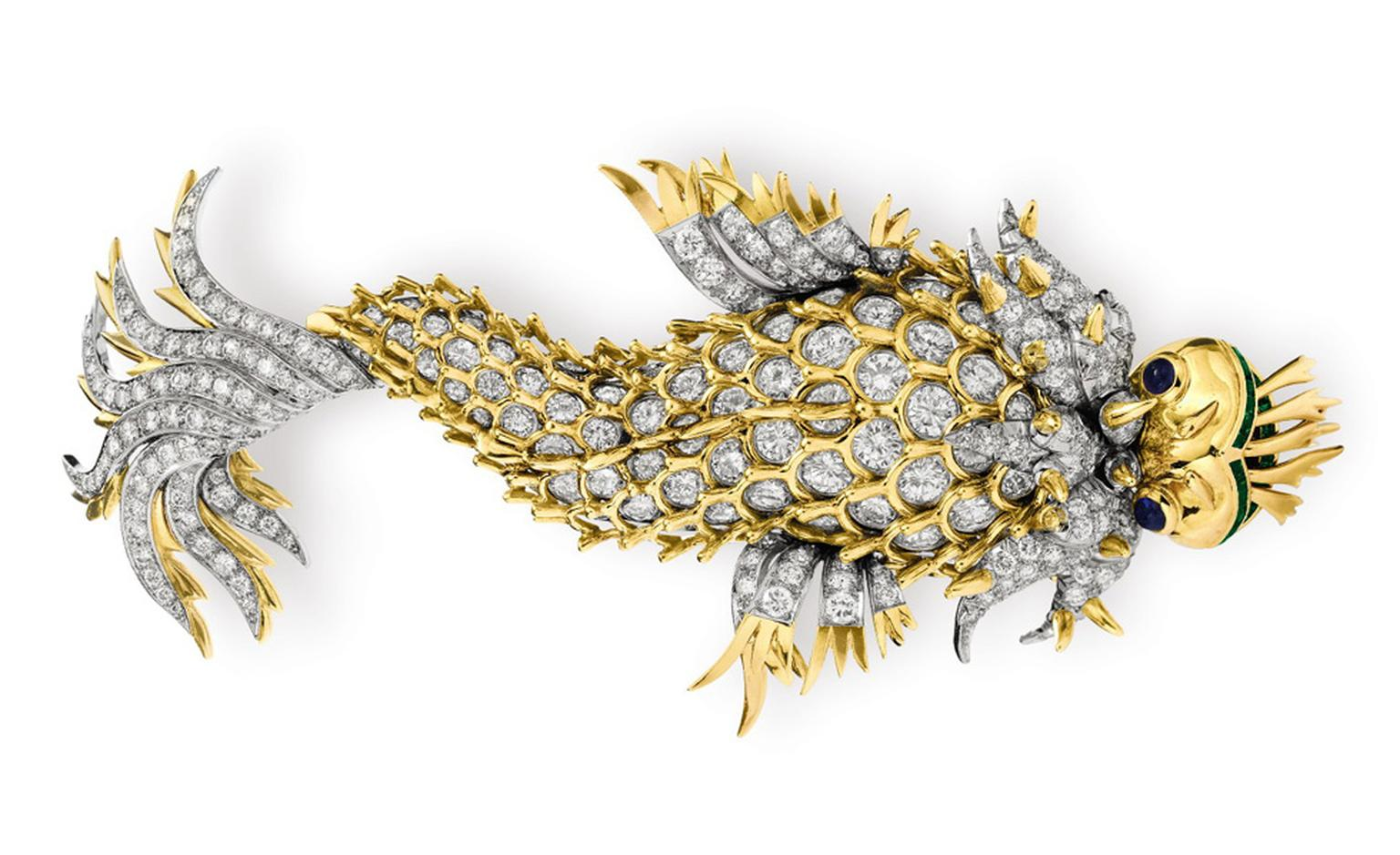 "The ""Night of the Iguana"" Brooch, by Jean Schlumberger, Tiffany & Co. Gift from Richard Burton, reminiscent of the newly-weds life in Puerto Vallarta, Mexico. August 11, 1964 Estimate: $200,000 – 300,000"