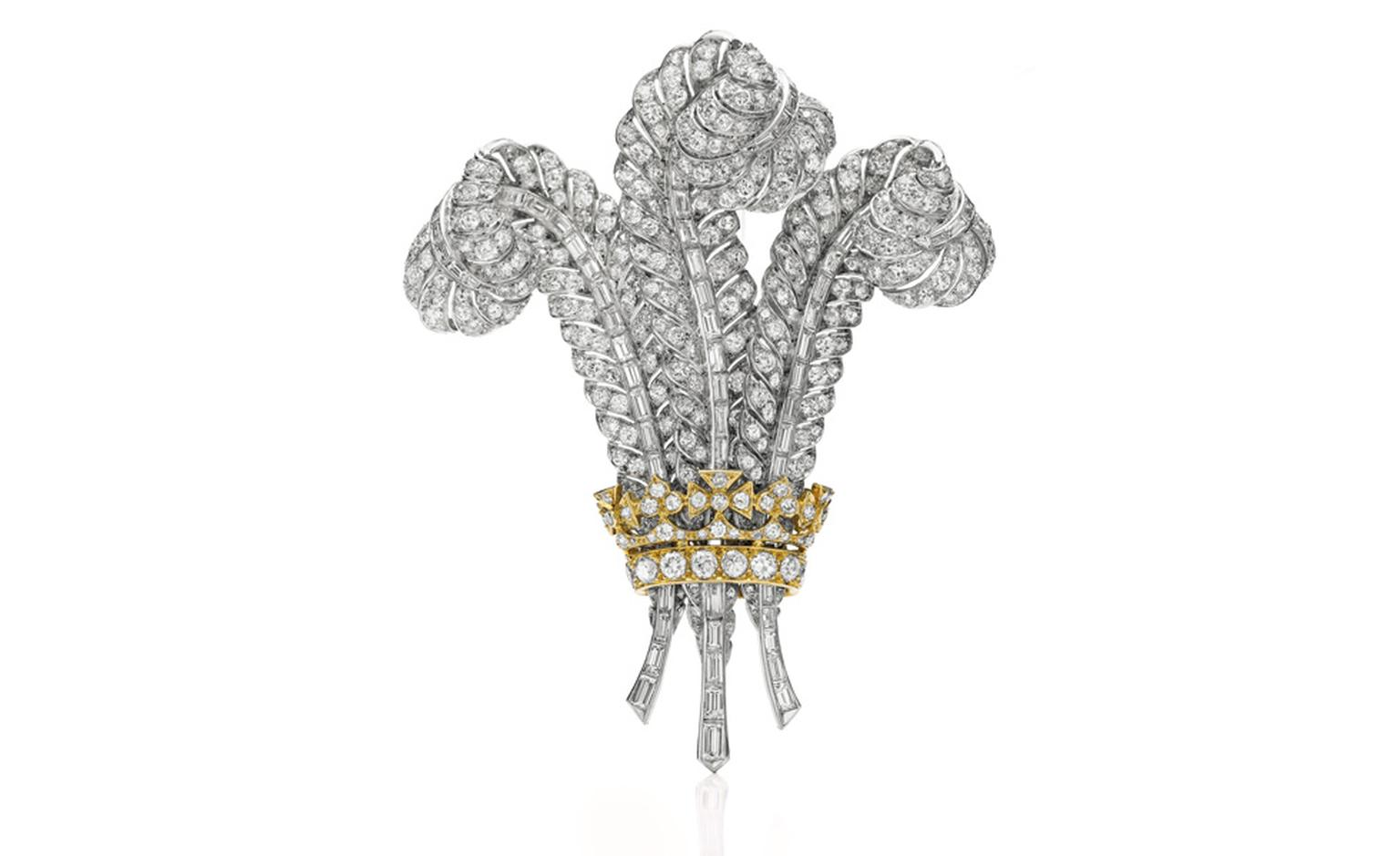 The Prince of Wales Brooch A diamond brooch, circa 1935 From the Collection of the Duchess of Windsor Purchased by Elizabeth Taylor at auction, April 1987 Estimate: $400,000 – 600,000