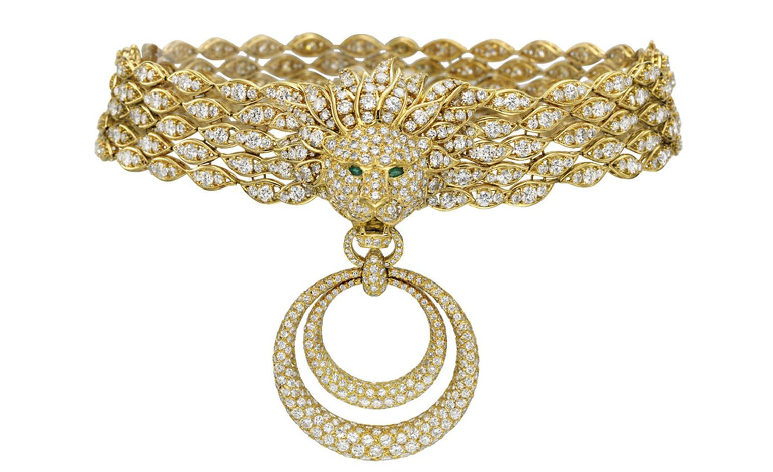 "Necklace from the set of Diamond and Gold ""Barquerolles"" Jewelry by Van Cleef & Arpels Gift from Richard Burton, 1971 Necklace estimate: $120,000 – 180,000"