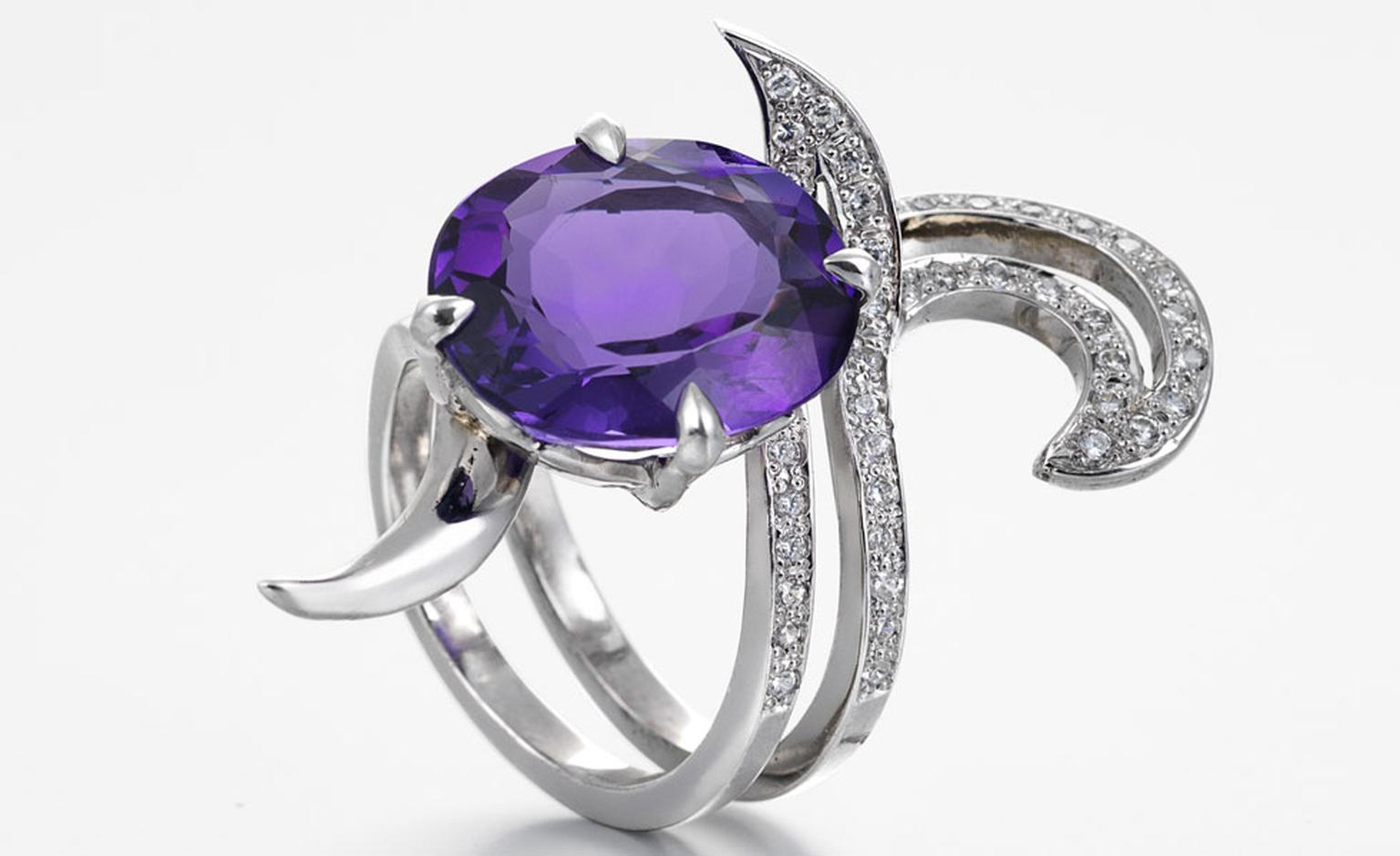 Deadly Nightshade Amethyst Ring, 18ct white gold ring set with Amethyst and Diamonds by Alexander Davis £3,095