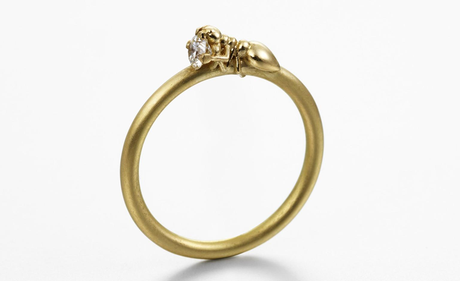 """Smallworkers I"" ring in yellow gold with a diamond by recent graduate Frances Wadsworth- Jones. A tiny ant attempts to make off with the gem. Prices start at £710 (depending on the stone)"