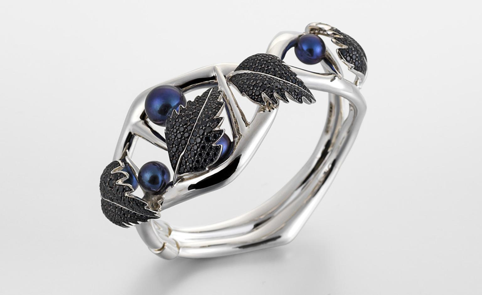 SILVER BLACKTHORN CUFF WITH BLACK SPINEL LEAVES & BLACK PEARLS by Shaun Leane £1,995