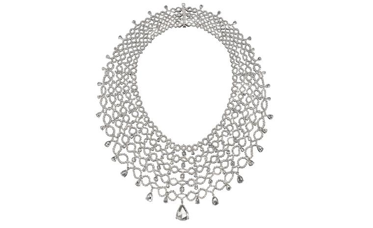 Dream lace necklace: Michelle Ong's most exacting levels of craftmanship make gold and diamonds as supple as fabric.