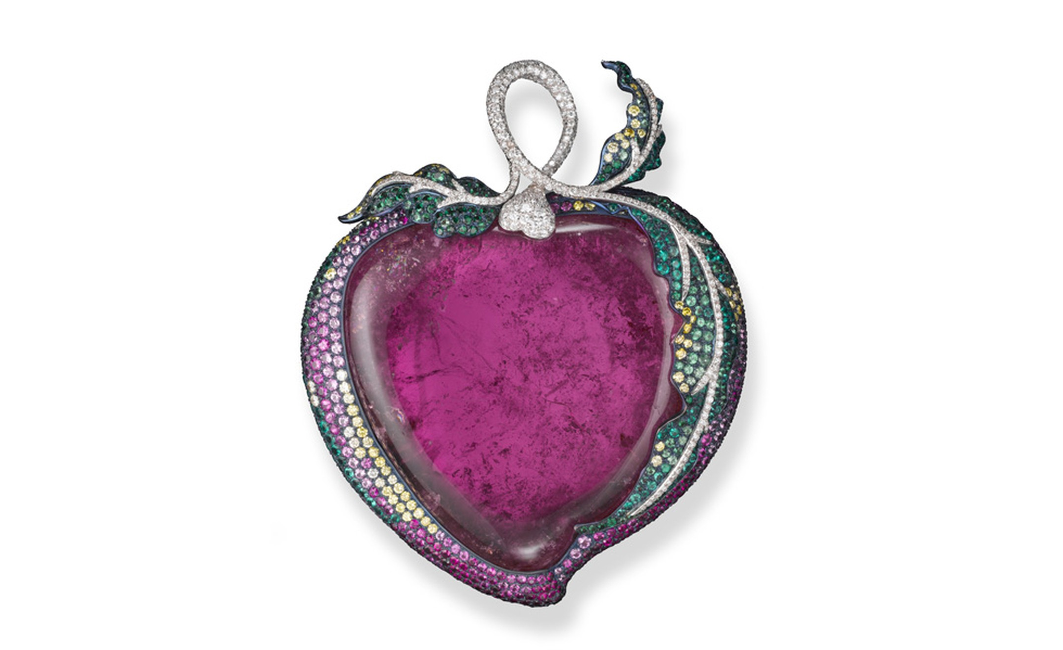 Forbidden Fruit brooch featuring a pink tourmaline, white and yellow diamonds, rubies, emerald, pink sapphires and garnet in platinum and titanium.