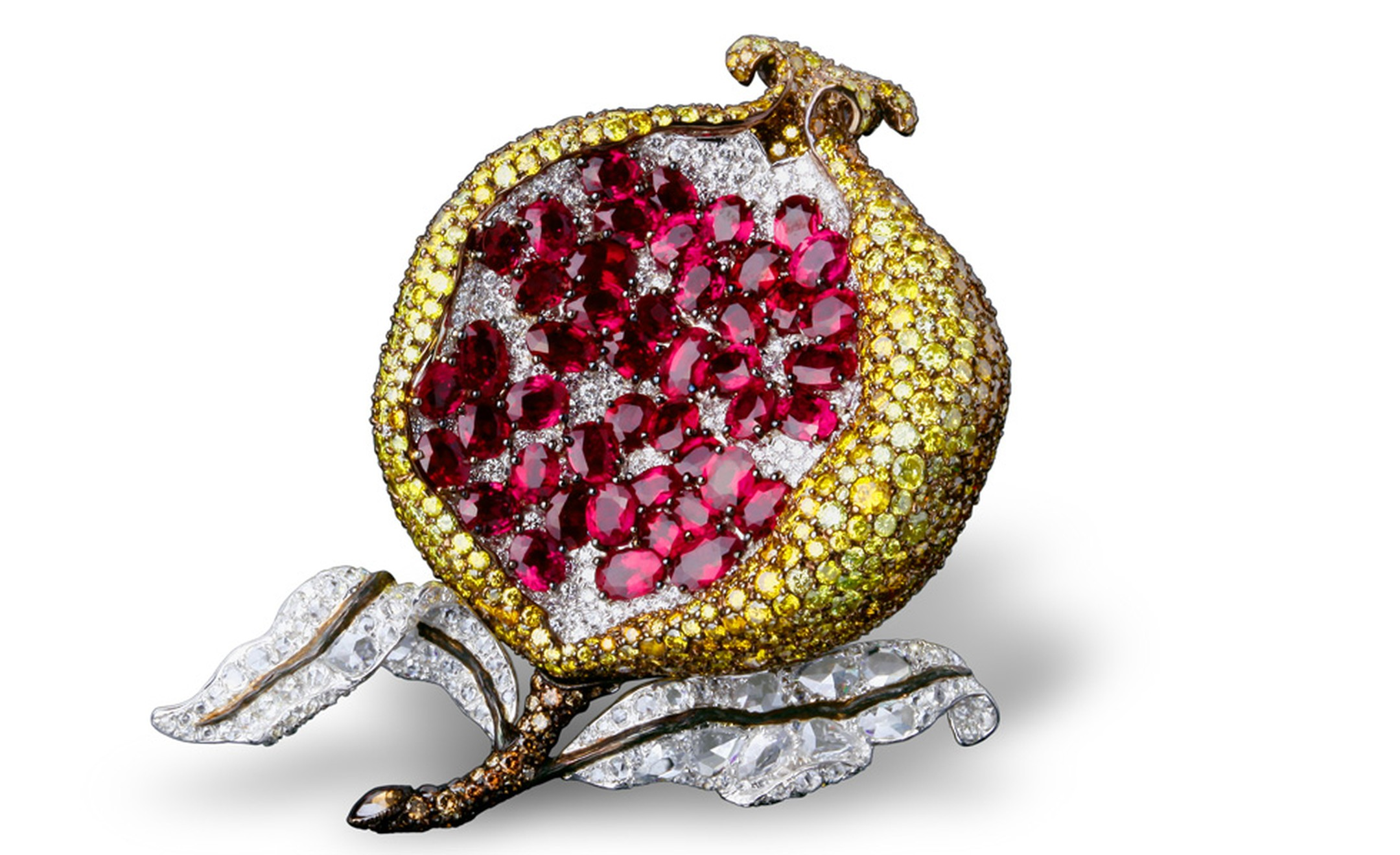 Pomegranate clip with white, fancy yellow and brown diamond in platinum and yellow gold.
