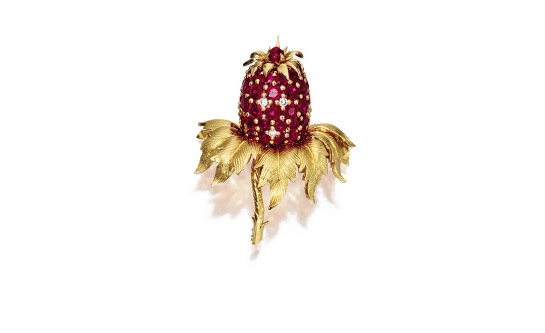 Lot 340 18 Karat Gold Ruby and Diaomond Pineapple Brooch. Est. $6,500/8,500. SOLD FOR $12,500.