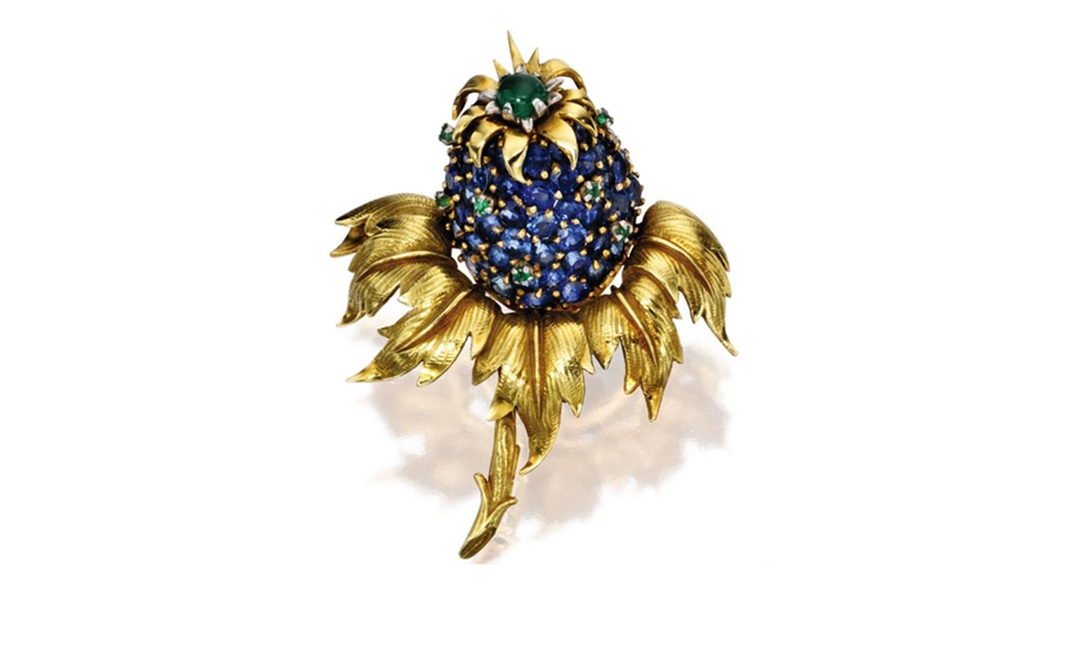 Lot 462 18 Karat Gold Sapphire and Emerald Pinapple Brooch. Est. $5/7,000. SOLD FOR $6,250