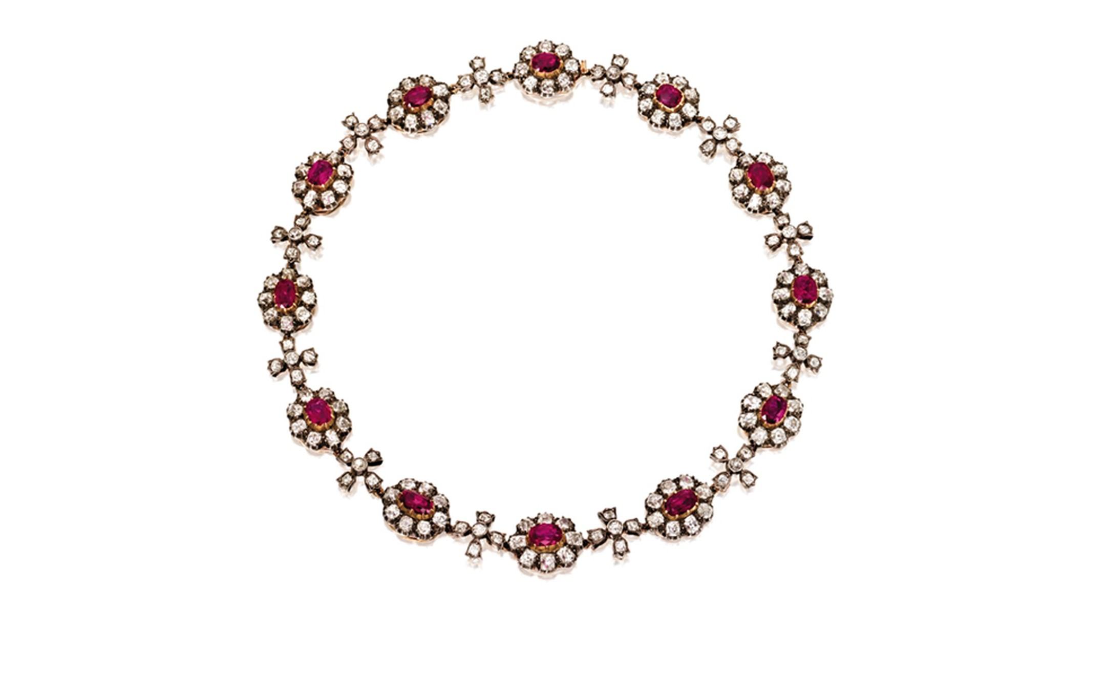Lot 338. Gold Silver Ruby and Diamond Necklace. Est. $80/129,000. SOLD FOR $152,500.
