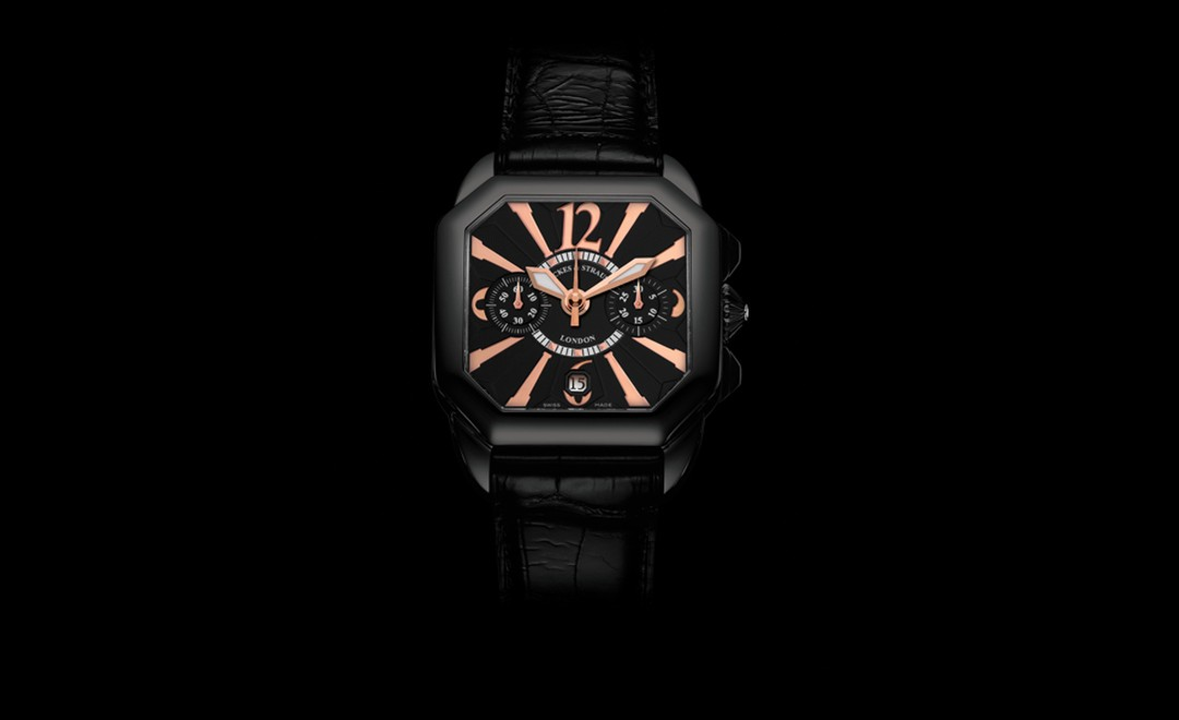 Backes & Strauss. The Berkeley Black Knight Chronograph 43, Limited Edition. Black PVD steel case, black dial, rose gold hand polished Arabic numerals, black rubber or black alligator strap with black PVD steel buckle. Price from £9,000.00.