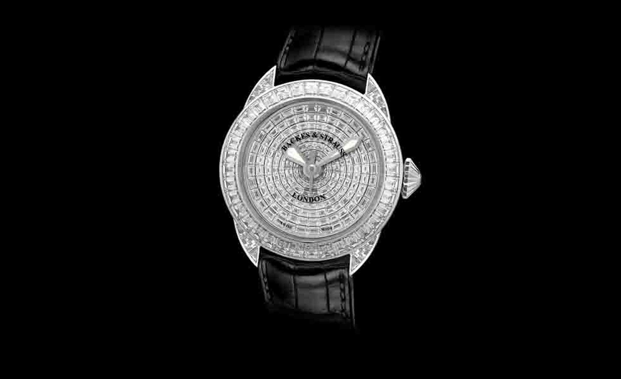 Backes & Strauss. The Piccadilly Prince from The Royal Collection, one of the three Princes, Limited Edition. Individually cut and polished baguette diamonds Hand stitched alligator strap with white gold thread. Price from £235,715.00.